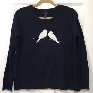 EUC GAP Navy Sweater with White Birds Size Medium